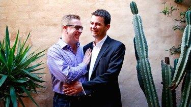 Happy couple: Jesper Hansen and Shayne Mallard.