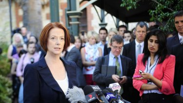 The Age News PM Julia Gillard at a Press Conference in Adelaide after Kevin Rudd resigned as Foreign Minister overnight in Washington D.C.
