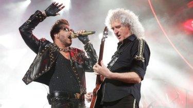 Adam Lambert and Brian May of Queen.