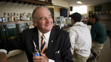Retiring MP Michael Hodgman at the local pub in Kingston with his regular stubby of Cascade light.