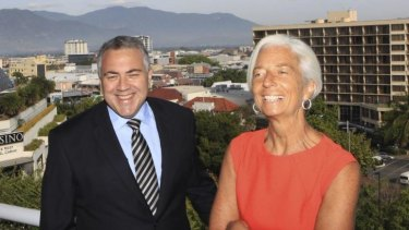 Joe Hockey with IMF chief Christine Lagarde in Cairns.