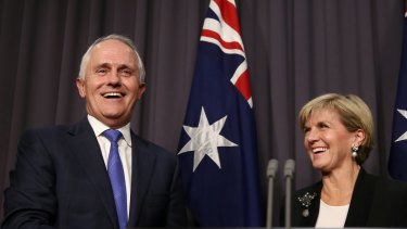 Prime minister elect  Malcolm Turnbull and  Julie Bishop address the media on Monday night.