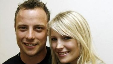 Volatile: Oscar Pistorius with former girlfriend Samantha Taylor.