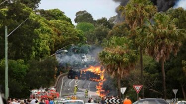 Fireball: the tanker crash that claimed two lives in Mona Vale last October.