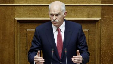 Hanging in the balance ... Greece's Prime Minister George Papandreou addresses parliament.