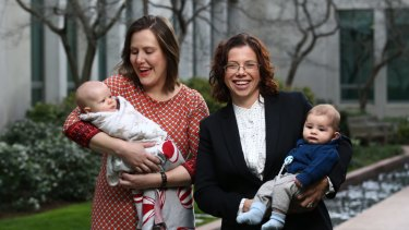 Kelly O'Dwyer with her daughter Olivia and Amanda Rishworth with her son Percy at Parliament House.