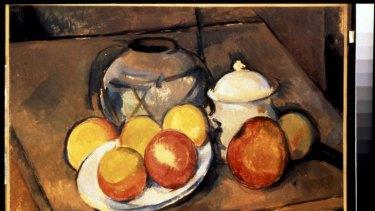 Paul Cezanne, <i>Straw-trimmed Vase, Sugar Bowl and Apples</i> circa 1890-94, oil on canvas, Musee de l'Orangerie, Paris.