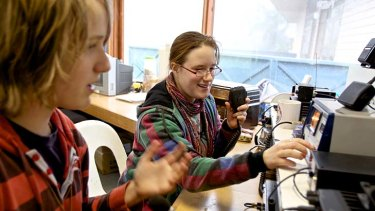 Justin Stewart and Monique Golub take to the airwaves at Sherbrook Community School.