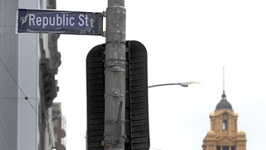 Republican pranksters renamed central Melbourne's Queen Street over night.