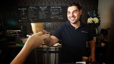 Shot of growth: Nicholas Vasili, manager at Astor Espresso in Glebe.