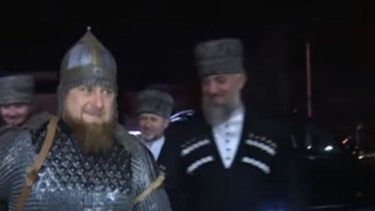 Kadyrov arrives at the ceremony in full armour.