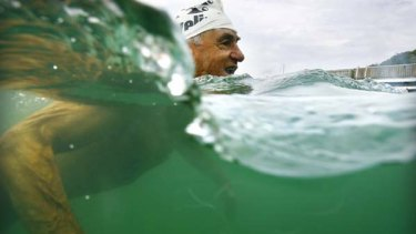 Old school ... at 81, John Kelso is one of the oldest members of the ocean swimming fraternity.