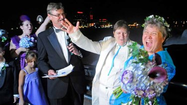 Cheryle Rudd (left) and Kitty Lambert after their marriage in Niagra Falls, New York.
