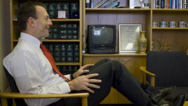 Liberal MP Tony Abbott in his electorate office in Manly in Sydney.
