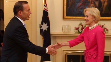 Outgoing Governor-General Quentin Bryce, pictured with Tony Abbott on Tuesday, will be the first dame after the reintroduction of the honour.
