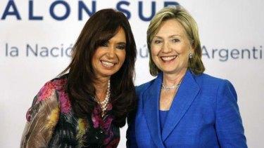 Sisterhood ... Cristina Kirchner and Hillary Clinton.