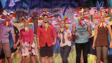 Proud gaybies: Steve Le Marquand, Sheridan Harbridge, Olivia Rose, Georgia Scott, Cooper George Amai and Zindzi Okenyo.