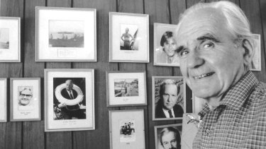 Carl Halvorsen with pictures of some of the celebrities who were among those who admired his skills.