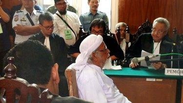 Indonesian cleric Abu Bakar Bashir in Cilacap court on Tuesday.