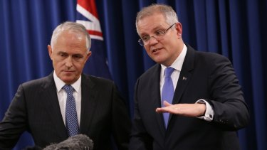 "Malcolm Turnbull and Scott Morrison rebadging their agreements with Japan, Korea and China as ""export agreements""."