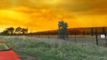 The sky above  Mount Arthur mine in Muswellbrook glows orange after a blast that went wrong.