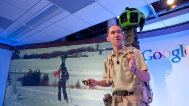 Luc Vincent, Google engineering director, demonstrates how Google captures images in hard to reach places with Street View Trekker.
