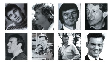 Victims … (clockwise from top left) Gilles Mattaini, Scott Johnson, Raymond Keam, John Russell, Ross Warren, Cyril Olsen, Peter Sheil and Richard Johnson.