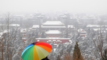 A chilly new year ... Beijing has been hit by freezing temperatures.