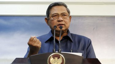 Indonesian President Susilo Bambang Yudhoyono announces an end to co-operations with Australia in Jakarta on Wednesday.