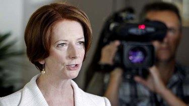 Prime Minister Julia Gillard speaks to media after addressing the Queensland Labor State Conference in Brisbane.