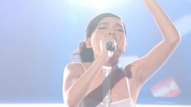Dami Im performing on <i>The X Factor</i>.