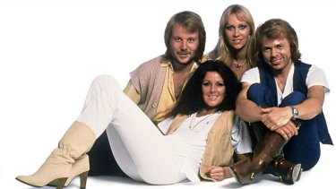 The four singers of Swedish pop group Abba in 1977.