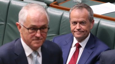 Prime Minister Malcolm Turnbull and Opposition Leader Bill Shorten during a parliamentary vote.