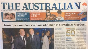 Friends in high places: Tony Abbott helped <i>The Australian</i> celebrate its 50th birthday.