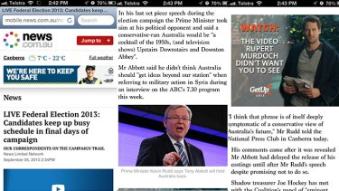 GetUp's anti-Rupert Murdoch ad (far right) appears on the mobile site of news.com.au, which is owned by the media mogul.