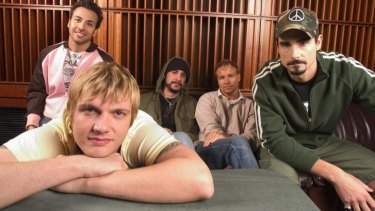 Nick Carter (front) with his Backstreet Boys band mates in 2005.