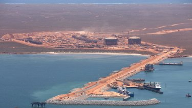 The gas export hub at Barrow Island, of northern Western Australia.