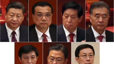 From top from left to right, President Xi, Premier Li Keqiang, Li Zhanshu, Vice Premier Wang Yang. From bottom from left to right: Wang Huning, Zhao Leji, Han Zheng.