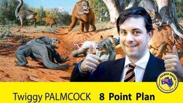 Palmcock's fake campaign for the Palmer United Party. <em>Source: Facebook</em>