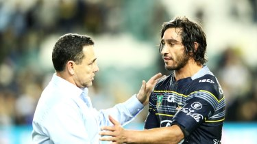 Beating the best: Shane Flanagan shakes hands with Johnathan Thurston.