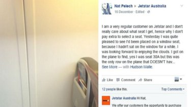 Nat Pelech posted a scathing complaint on Jetstar Australia's Facebook page.