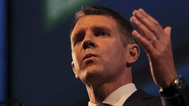 Confident: Mike Baird rallies the troops at the Liberal Party campaign launch on Sunday.