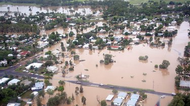 An aerial image of the flooded Roma, 480km west of Brisbane.