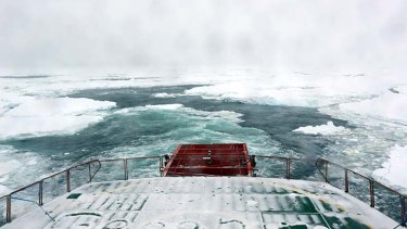 Closing in: View from the stern of the Aurora Australis before it abandoned its rescue attempt.