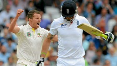 Key wicket: Peter Siddle celebrates after taking the wicket of England's Kevin Pietersen.