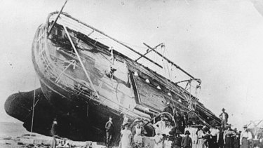 Washed ashore ... the wreck of the SS Maitland.
