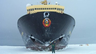 A Russian ice breaker in the previously pristine waters of Antarctica.