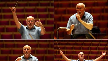 Leader of the pack … David Zinman displays his range of hand gestures, baton movement and facial expressions while conducting.