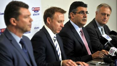 AFL drugs press conference: AFL Club CEO rep Gary Pert, AFLPA CEO Matt Finnis, CEO Andrew Demetriou and AFL medical director Dr Peter Harcourt.