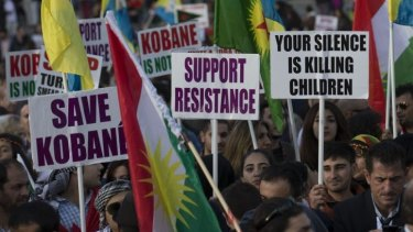 Kurds and their supporters demonstrate over the fate of the town of Kobane in London's Trafalgar Square on Saturday. The latest Islamist advances in Syria and Iraq have renewed questions over the US-led coalition's focus on Kobane.